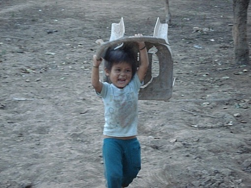 Child throwing a chair